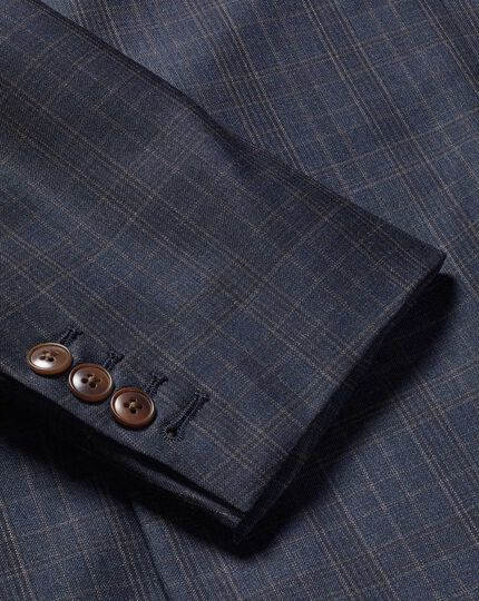 Italian Luxury Twill Check Suit Jacket - Blue