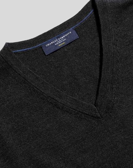 Merino V-Neck Jumper - Dark Charcoal