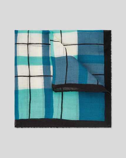 Luxuriöses Einstecktuch aus Wolle & Seide mit Karos - Marineblau & Grün