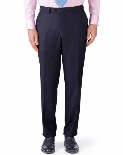 Ink blue classic fit birdseye travel suit trousers