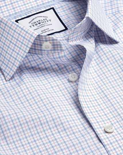 Semi-Cutaway Collar Egyptian Cotton Poplin Check Shirt - Blue & Red