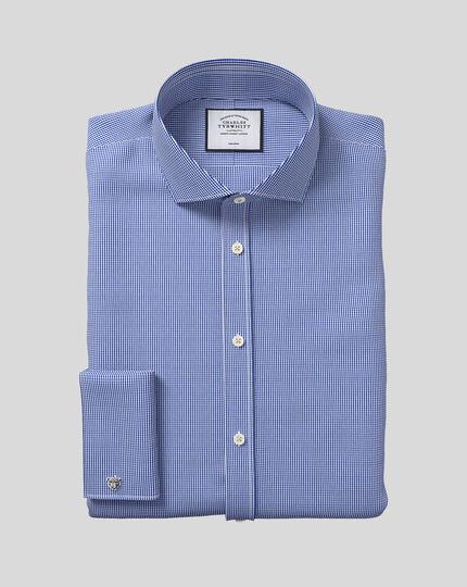 Bügelfreies Hemd mit Haifischkragen und Hahnentrittmuster  - Königsblau