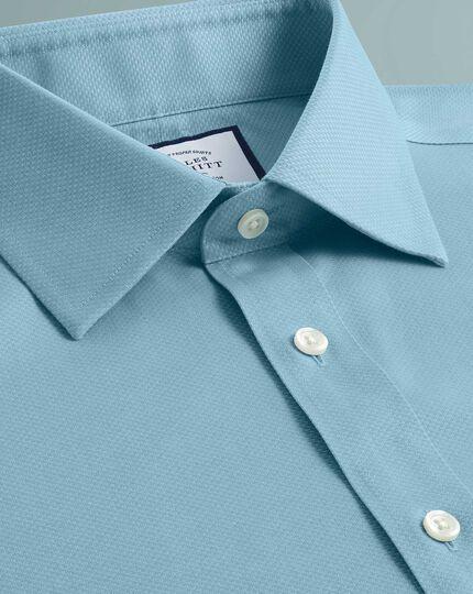 Chemise bleu canard slim fit tissage effet triangles sans repassage