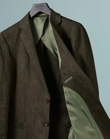 Slim fit olive Italian linen jacket