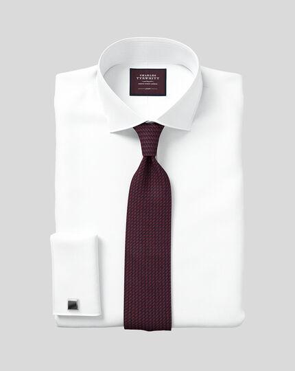 Semi-Cutaway Collar Luxury Twill Shirt  - White