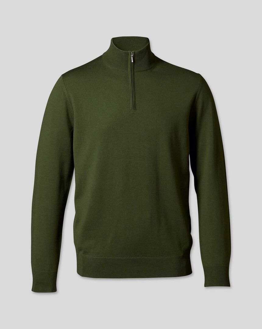 Merino Zip Neck Sweater - Olive