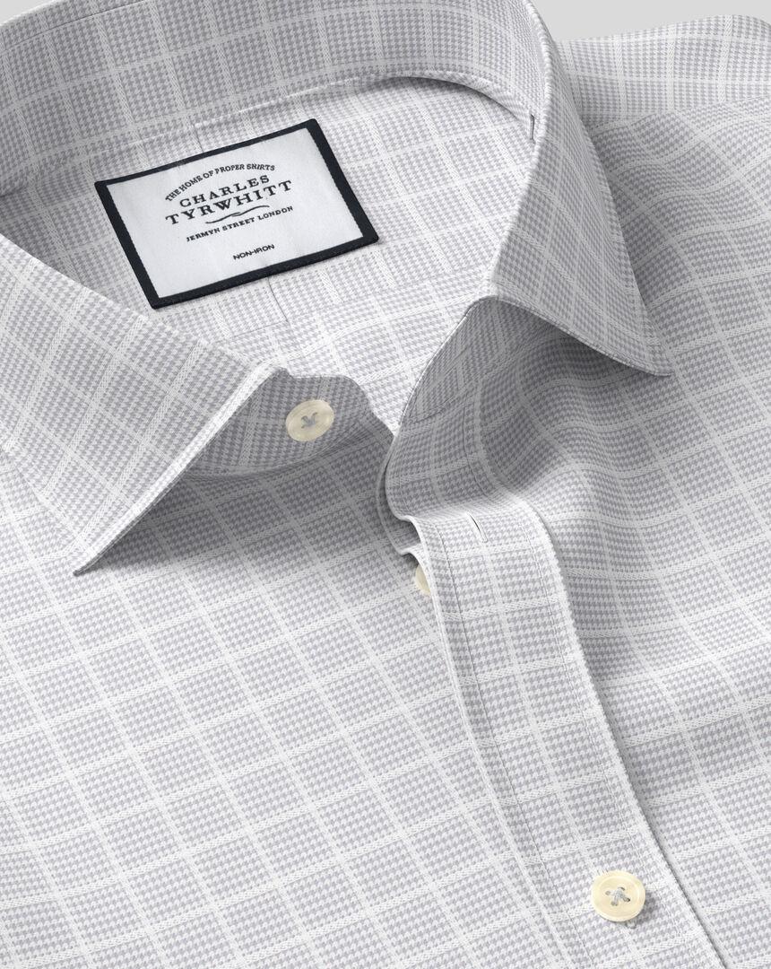 Cutaway Collar Non-Iron Check Shirt - Silver