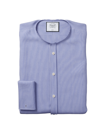 Bügelfreies Slim Fit Hemd in Marineblau mit Bengal-Streifen
