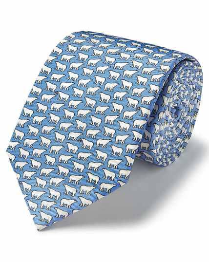 Cravate classiqueen soie bleu ciel à imprimé ours polaires et saumons