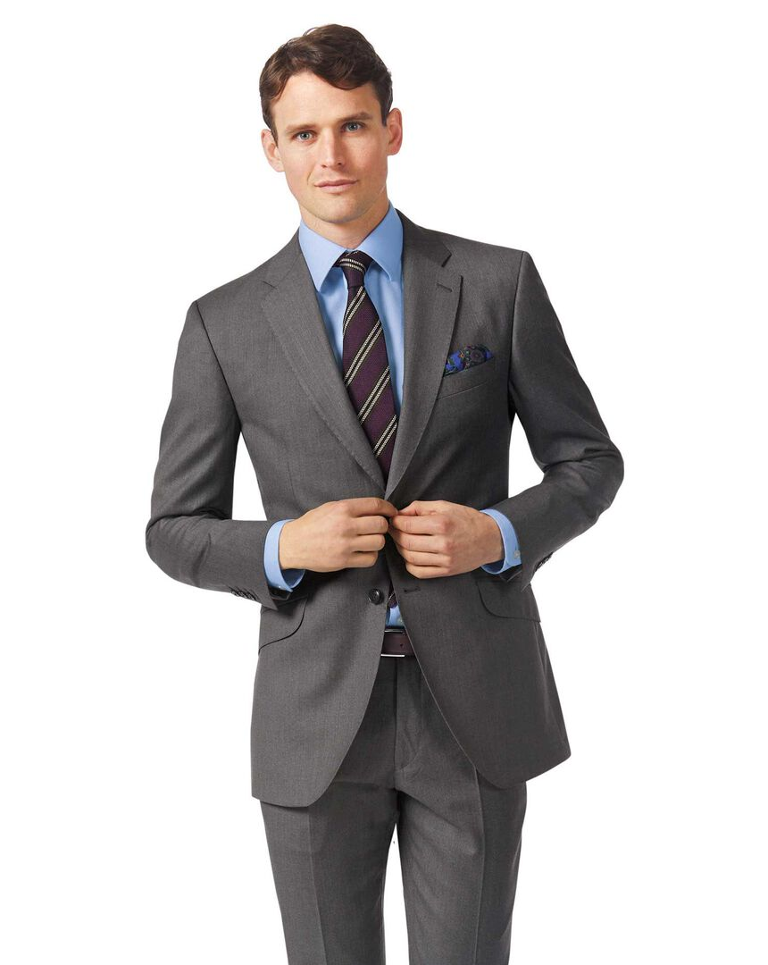 Grey slim fit Italian twill luxury suit jacket