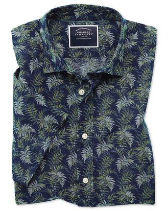 Kurzärmeliges Classic Fit Hemd aus Baumwolle/Leinen mit Blattmuster in Marineblau & Grün