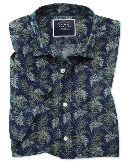 Classic fit leaf print navy and green short sleeve linen cotton shirt