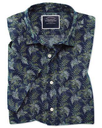 Kurzärmeliges Slim Fit Hemd aus Baumwolle/Leinen mit Blattmuster in Marineblau & Grün