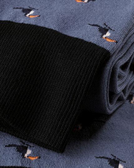 Jacquard-Socken mit Tukanmotiv - Blau