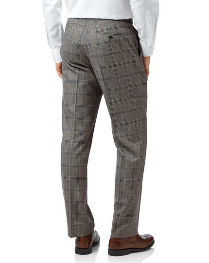 Grey Prince Oof Wales classic fit British luxury suit trousers