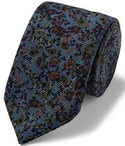 Cravate de luxe en laine italienne bleu ciel à fleurs