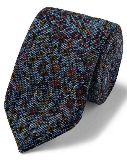 Sky multi floral wool print luxury Italian tie