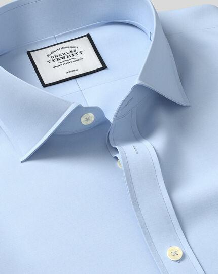 Cutaway Collar Non-Iron Tyrwhitt Cool Poplin Shirt - Sky