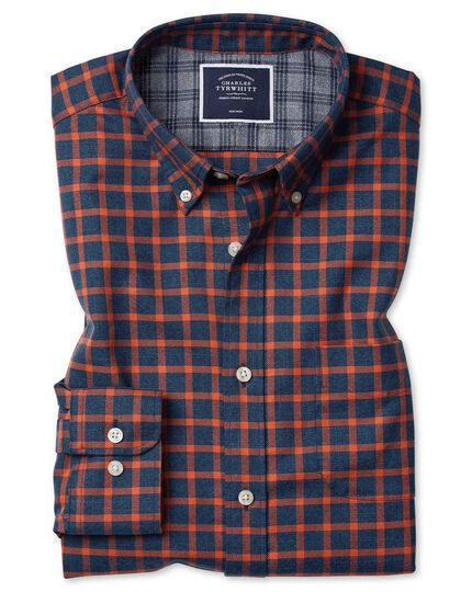 Soft Washed Non-Iron Twill  Windowpane Check Shirt - Navy And Orange