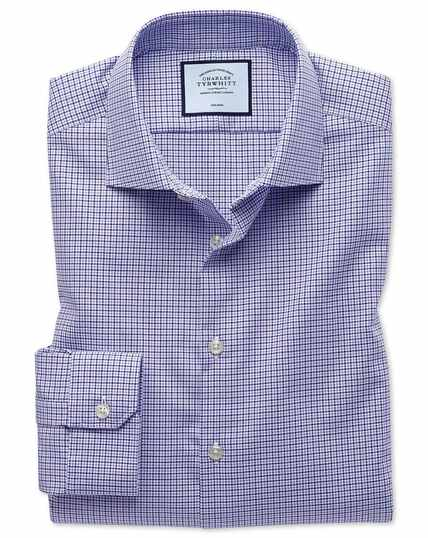 Super slim fit business casual non-iron puppytooth lilac shirt