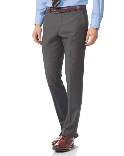 Grey slim fit Italian twill luxury suit pants