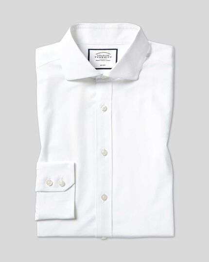 Extra slim fit non-iron 4-way stretch white shirt