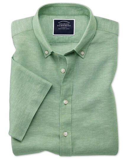 Cotton Linen Twill Short Sleeve Shirt - Green
