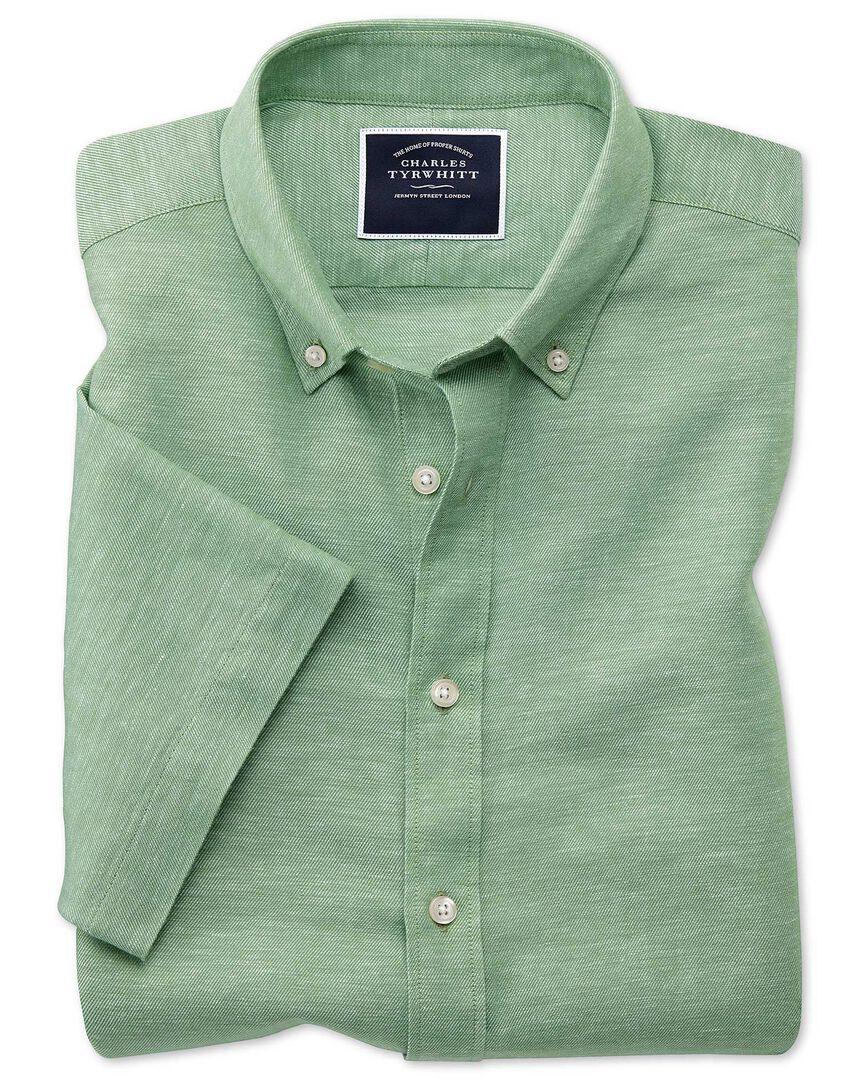 Slim fit green cotton linen twill short sleeve shirt