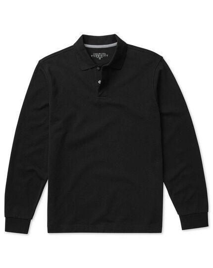 Black pique long sleeve polo
