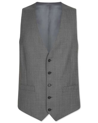 Light grey adjustable fit sharkskin travel suit vest