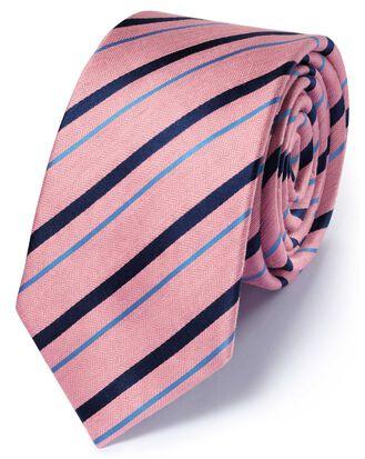 Slim pink and navy silk mix classic stripe tie