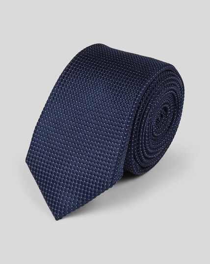 Cravate slim en soie à petits pois - Bleu marine