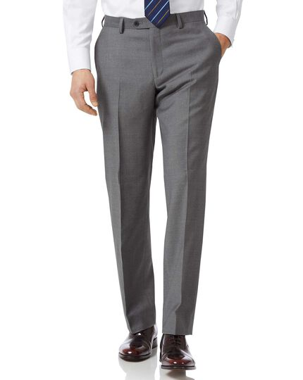 Grey classic fit twill business suit trousers