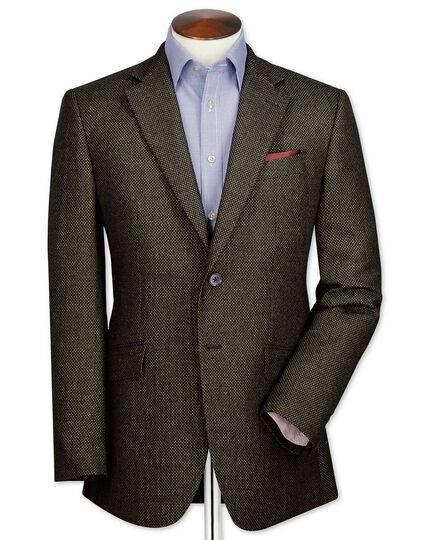 Slim fit olive birdseye lambswool jacket