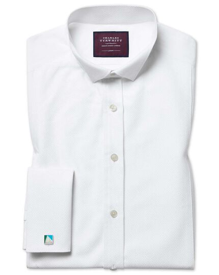 Slim fit wing collar luxury Marcella bib front white evening shirt