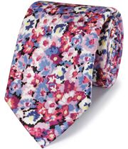 Pink floral cotton silk printed classic tie