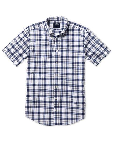Classic Fit Kurzarmhemd aus Popeline in Marineblau und Weiß