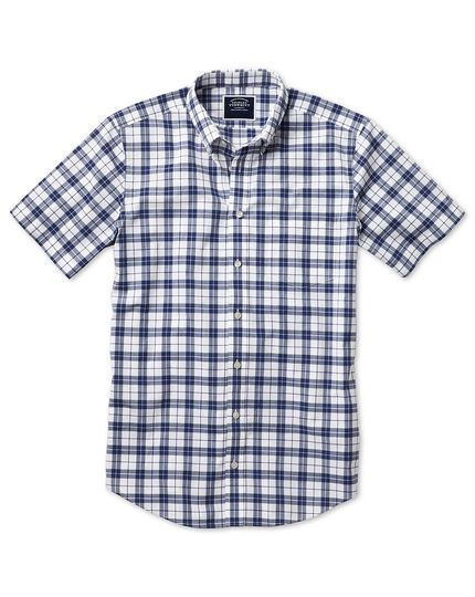 Slim fit poplin short sleeve navy and white  shirt