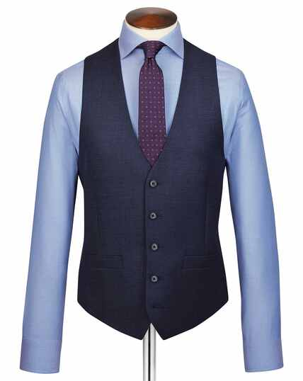 Navy adjustable fit jaspe business suit vest