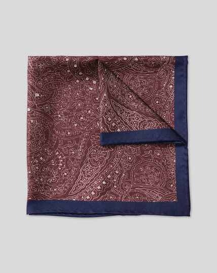Paisley & Spot Reversible Pocket Square - Maroon