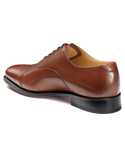 Tan Goodyear welted Oxford toe cap shoes