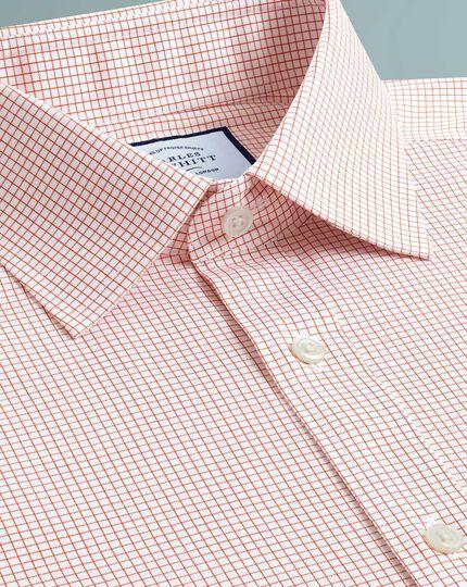 Slim fit non-iron twill mini grid check orange shirt