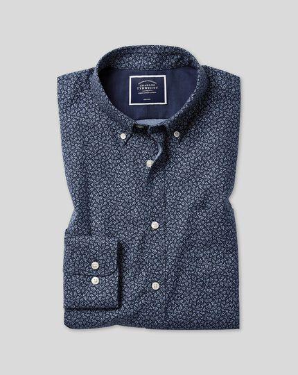 Slim fit navy print soft wash non-iron twill shirt