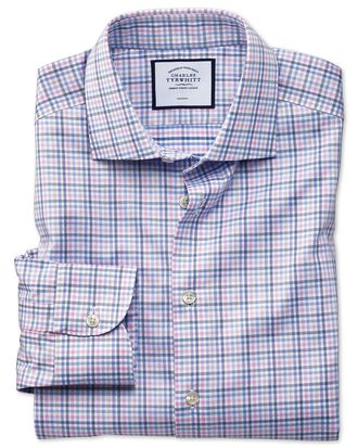 Classic fit business casual non-iron pink and blue check shirt