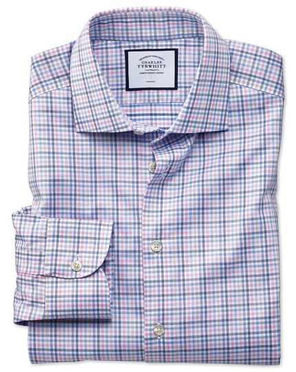 Slim fit business casual non-iron pink and blue check shirt