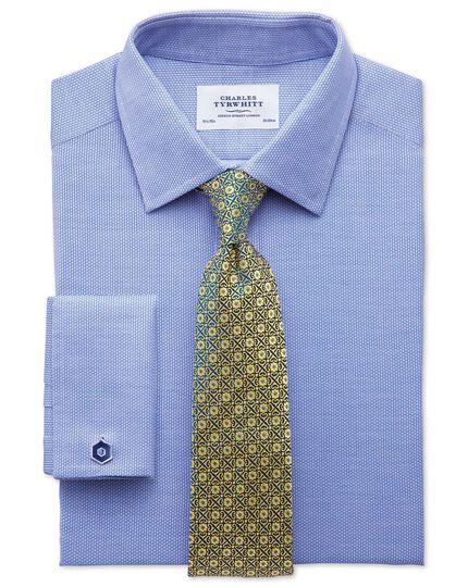 Slim Fit Hemd aus ägyptischer Baumwolle in Mittelblau mit Diamant-Struktur