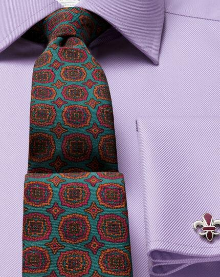 Slim Fit Kavallerie-Twill Hemd aus ägyptischer Baumwolle in Flieder