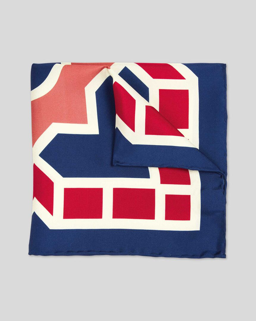 Large Tile Print Pocket Square - Navy & Red
