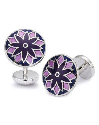 Lilac floral enamel cufflinks