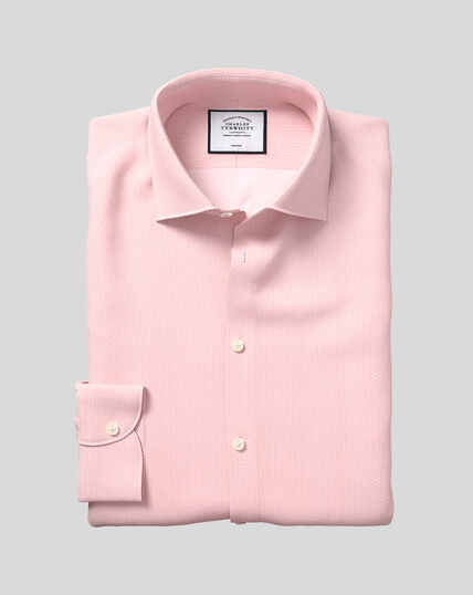 Business Casual Collar Non-Iron Geometric Print Shirt - Pink